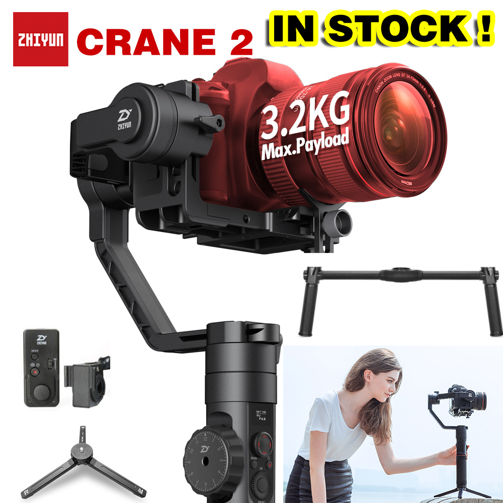 DHL Zhiyun Crane 2 3-Axis Brushless Gimbal Stabilizer Handheld Gimbal Dual handle For DSLR camera stabilizer PK crane2 beholder ds1 3 axis brushless handheld gimbal stabilizer 32 bit controller with dual imu sensors d2 handle grip cable for dslrs