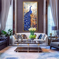 Hand Made Thick Textured Blue Peacock Canvas Oil Painting Vertical Large Bird Wall Picture For Living
