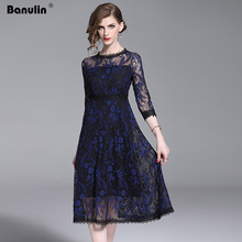 Banulin Luxury Lace Evening Party Dress New 2019 Spring Autumn Fashion England Style Big Swing A-line Women Midi Dresses