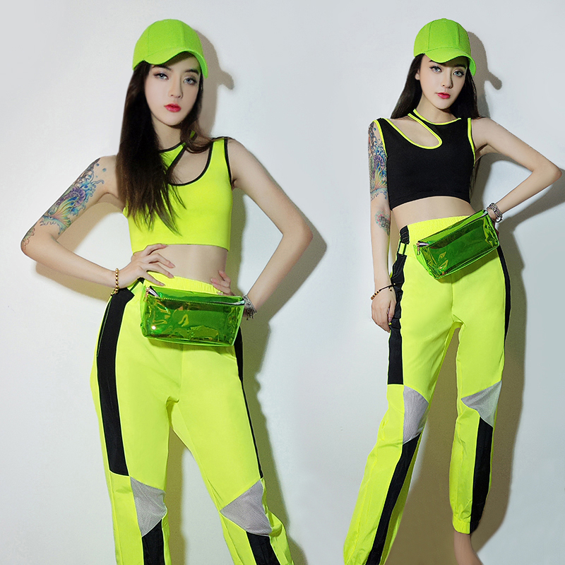 Jazz Dance Costumes Fluorescent Green Vest Pants Women Hip Hip Clothes NightclubSingerDj Stage Outfit Street Dancewear DT986
