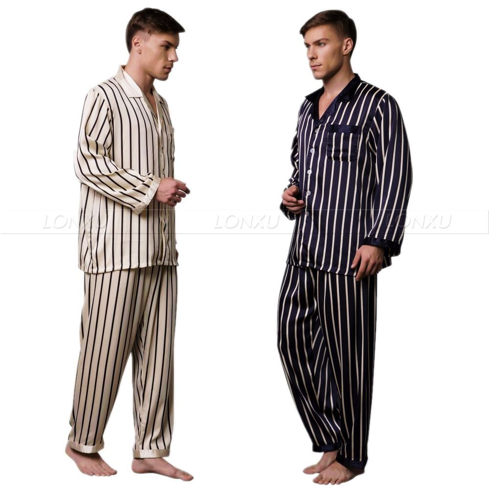 Mens Silk Satin Pajamas Set Pyjamas Set PJS Sleepwear Loungewear S ~3XL Striped __Big and Tall