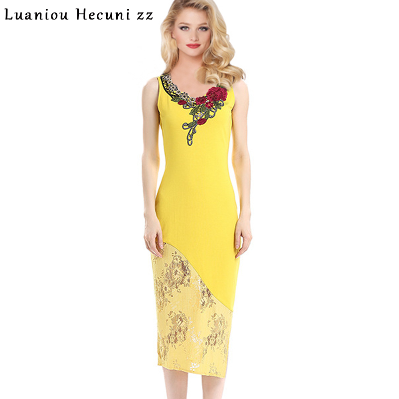 c01a9953b67e8 Chu Ni Womens Elegant Vintage Embroidery Lace Dress Sleeveless Party Evening  Special Occasion Bodycon Sheath Pencil Dress HY16