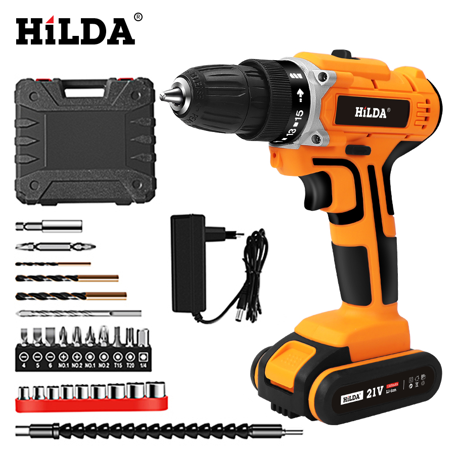HILDA 21V Electric Drill With Rechargeable Lithium Battery Electric Screwdriver Cordless Screwdriver Two-speed Power Tools