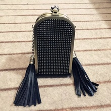 2016 PU Crystal Eyes Skull Hasp Rivet Evening Bag Rock Gothic Bags Women Party Designer Tassel Women Evening bag with Chain L284