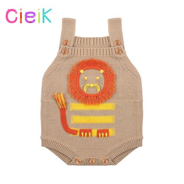 Cieik 2018 New Children Knitting Pattern Vest Lion Baby Rompers Boys