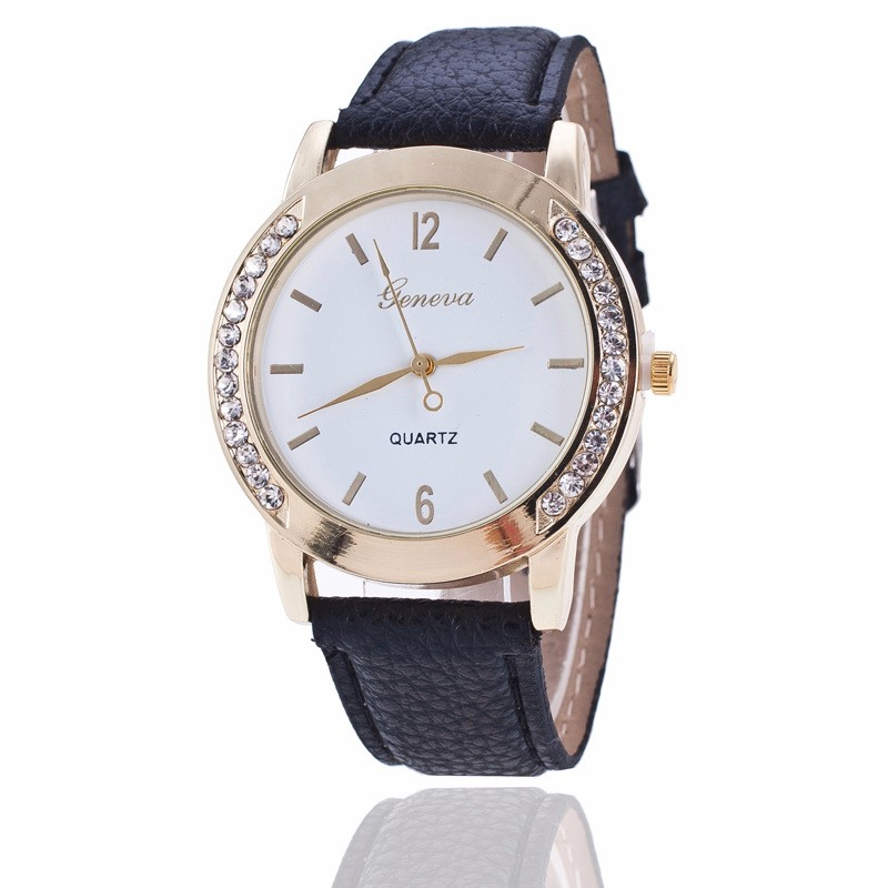 Fashion Rhinestone Watches Relogio Women Famous Brand Geneva Quartz Watch Leather Wrist Ladies Dress watches Montre Femme Clock ladies fashion brand quartz watch women rhinestone pu leather casual dress wrist watches crystal relojes mujer 2016 montre femme