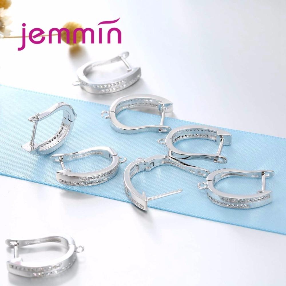 Jemmin U Shape Micro Rhinestone 925 Sterling Silver Components For ...