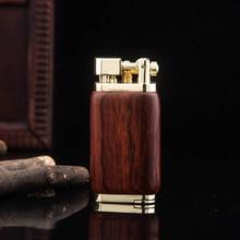 Red Wood With Metal Lighter Smoking Inflatble Gas Lighters Jet Butane Windproof Cigarette Lighter Novelty Cigar Lighter