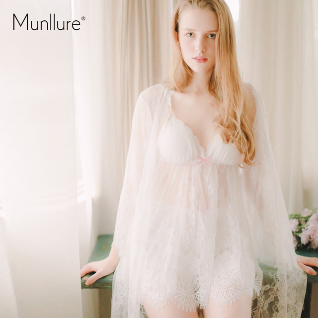 82369e846a7 US $31.84 35% OFF|Munllur ultra thin transparent Three piece suit lace silk  nightgown Women's fashion the temptation lace sexy condole nightgown-in ...