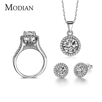 Brides 925 Sterling Silver AAAAA Level CZ Stud Earrings Ring Necklace Bridal Jewelry Set