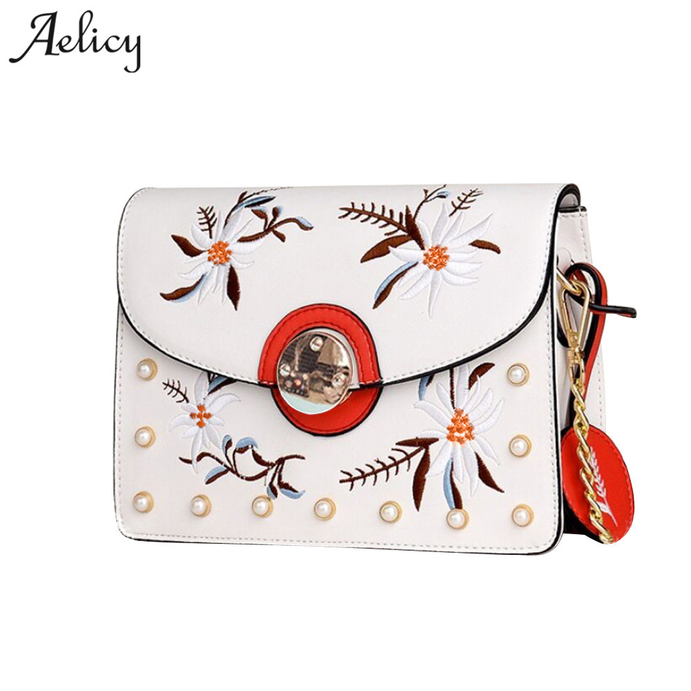Aelicy Shoulder Bag Leather Embroidery Bag Female Chain Small Messenger Bags Women Handbag Cross body luxury bolsa feminina ...