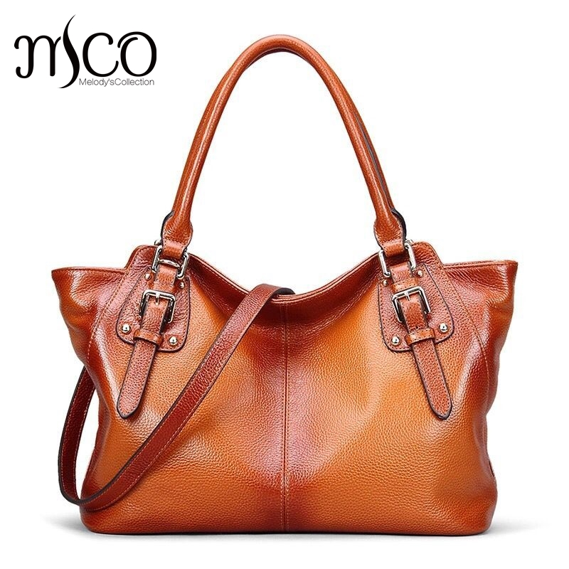 Luxury Design Women's Vintage Style Soft Genuine Leather Tote Large Shoulder Bag Casual Fashion Women Leather Handbag Satchel casual women s satchel with weaving and buckle design
