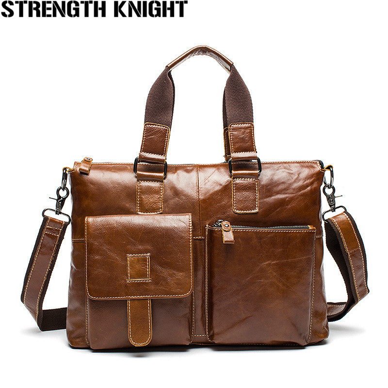 Crazy Horse Genuine Leather Men Briefcase Messenger Laptop Bag Men Briefcase Business Travel Casual Shoulder Handbags designer second layer crazy horse leather briefcase men messenger shoulder bag laptop bag maletin hombre negocios bookbag b00021