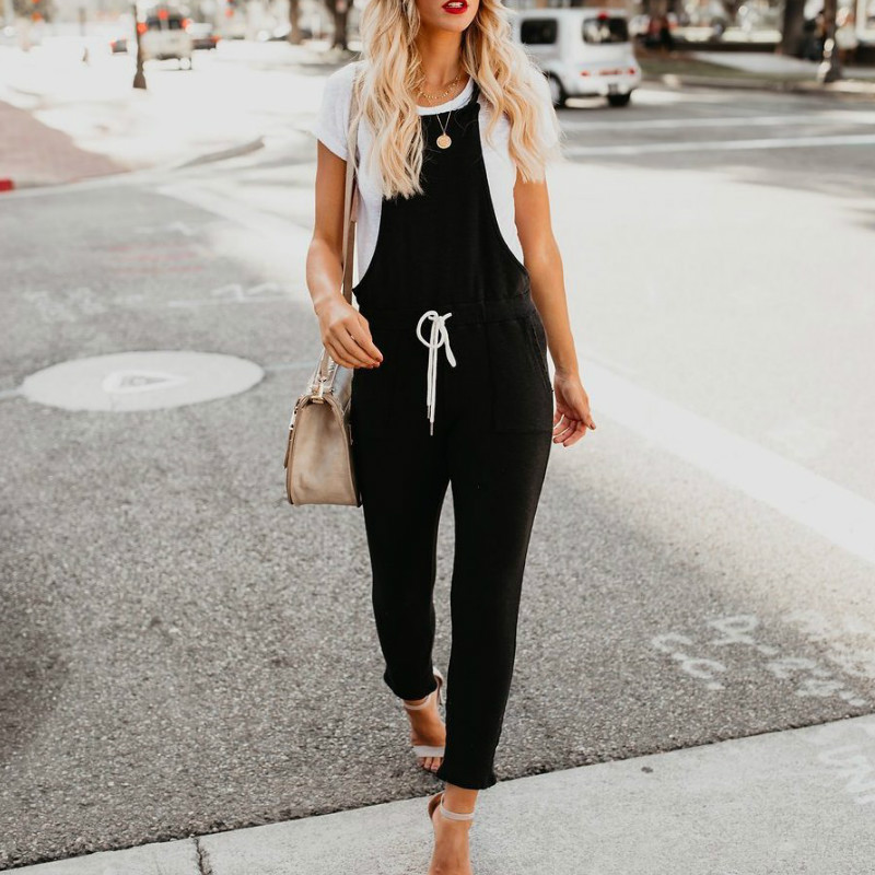 2018 New Arrivals Black Spaghetti Rompers Womens Long Pants Bandage Overalls Rompers Womens Jumpsuit Womens Clothing 1