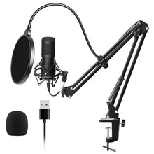 Usb Streaming Podcast Pc Microphone Professional Studio Cardioid Condenser Mic Kit with Sound Card Boom Arm Shock Mount Filter(China)
