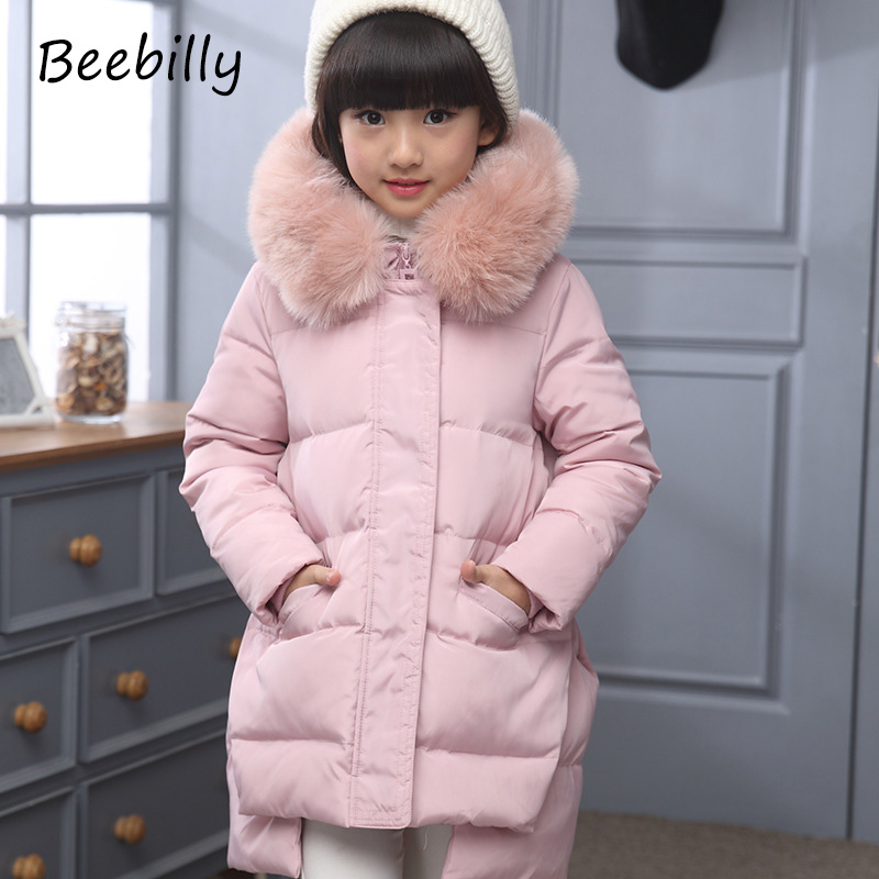 2017 Fashion Girl's Down jackets/coats winter Russia baby Coats thick duck Warm jacket Children Outerwears -30degree jackets D1 fashion boys down jackets coats for winter warm 2017 baby boy thick duck down coat real fur children outerwears for cold winter
