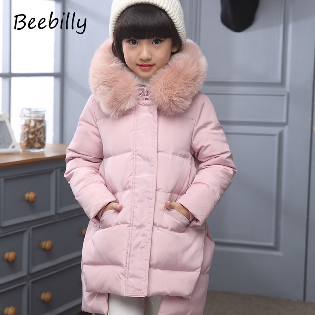 2017 Fashion Girl's Down jackets/coats winter Russia baby Coats thick duck Warm jacket Children Outerwears -30degree jackets D1