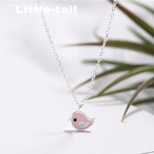 New listing 925 sterling silver cute pink bird pendant necklace simple fashion trend Korean student jewelry high quality