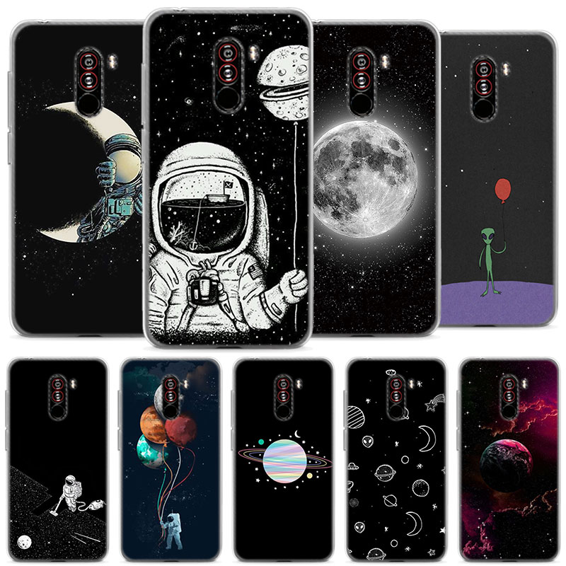 Astronaut Space Moon soft Silicone case cover for Pocophone F1 Poco F1 (6.18 inch) Protective TPU soft phone case coque