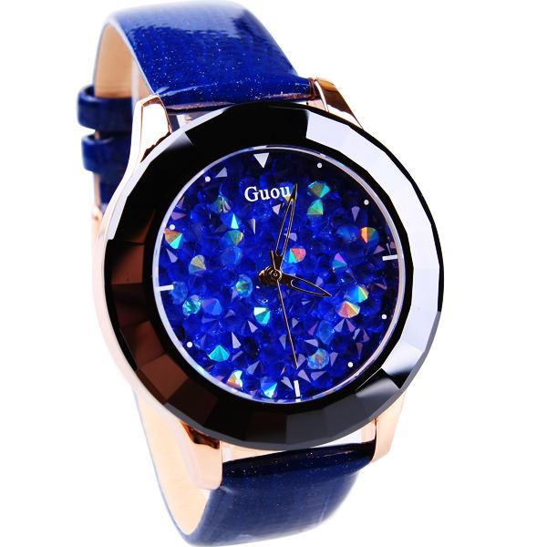 HK zīmols Guou Sieviešu labas kvalitātes īstas ādas siksnas Luxury pulksteņi pirmās klases rhinestone modes pulkstenis Ladies rokas pulksteņi