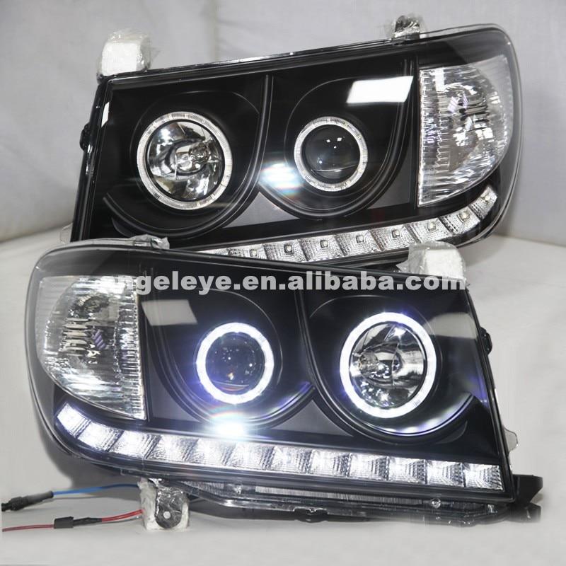 Для Тойота Ленд Крузер lc100 из 4700 FJ100 2006-2007 Год светодиодный головной свет фар лампы черный корпус