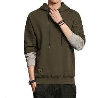 Hooded Men 2017 Men S Hoodies Color Stitching Sweatshirts Men S Slim Army Green Pullover Hoodie