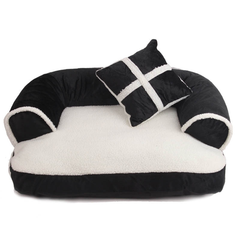 Luxury Comfortable Pet Sofa Warm Soft Velvet Large Dog Bed Puppy House Kennel Cozy Cat Nest Sleepping Mat Cushion Pet Bedding
