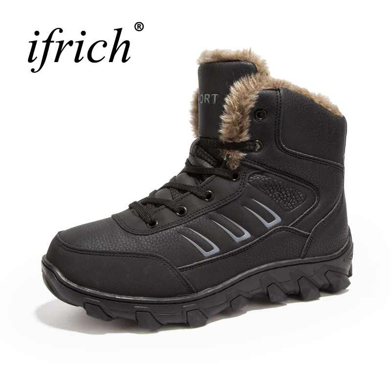 2017 Big Size Hiking Shoes Men Winter Snow Boots Plus Size 39-48 Men Outdoor Sneakers Winter Warm Hunting Boots Men Trainers big size 46 men s winter sneakers plush ankle boots outdoor high top cotton boots hiking shoes men non slip work mountain shoes