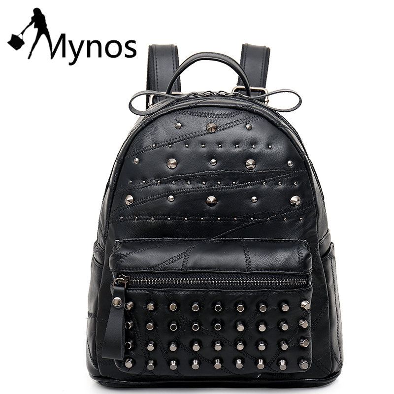 Mynos Genuine Leather Women Backpacks Daily Backpack Girl School Bag Rivet Travel Bag Ladies Sheepskin Shoulder Bags Mochila Sac 2017 ethnic embroidered flower print backpacks women bags genuine leather backpack school bag sac a dos travel mochila feminina