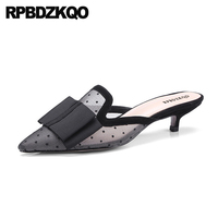 Mesh Size 4 34 Medium Sexy Shoes Black Ladies High Heels Slipper Unique Mules Pointed Toe Bow Sandals Pumps Kitten Chinese