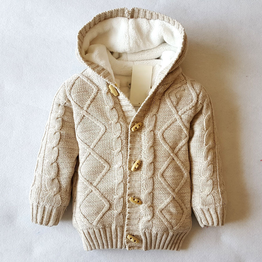 Boys Cardigan Khaki Plaid Thick Warm Hooded Fleece Knitted Sweater ...