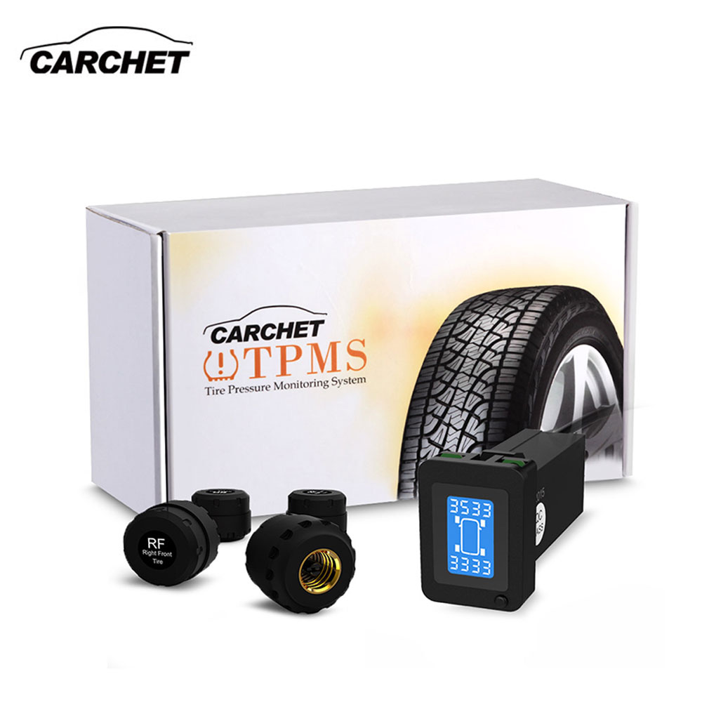 CARCHET TPMS Car Tire Pressure Monitoring System Auto Diagnostic-tool Tire Alarm Intelligent System 4 External Sensor For Toyota 2018 newest solar tpms newest technology car tire diagnostic tool with mini external sensor superior quality wireless tpms