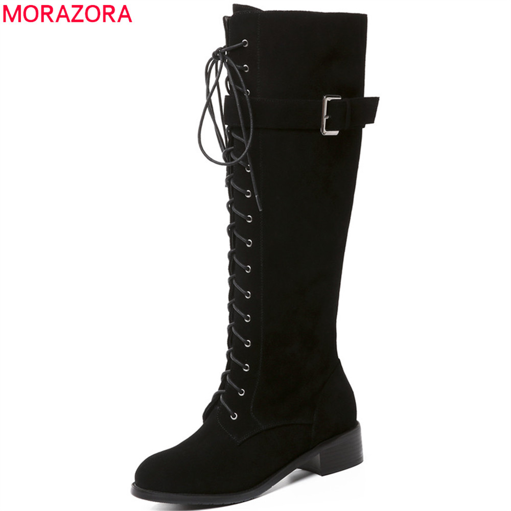 MORAZORA black fashion new arrive women boots round toe lace up cow suede ladies boots square heel leather knee high boots anne klein часы anne klein 1204crhy коллекция daily