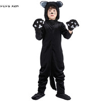 Unisex kids Bear Kigurumi pajamas Boys Halloween Animal Costumes for Children's day Black Cat Cosplay Carnival Purim party dress