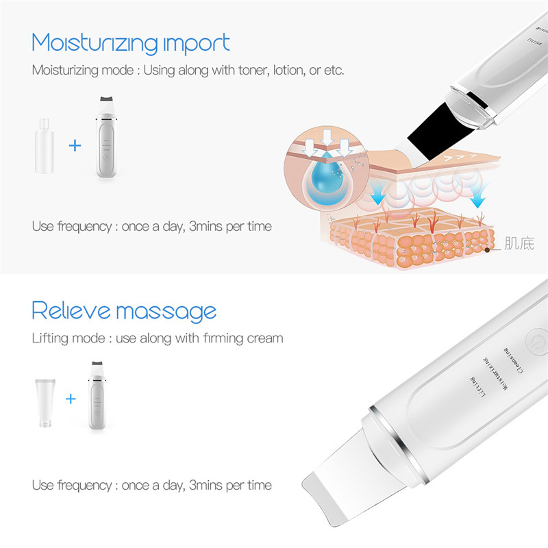 Image 3 - Ultrasonic Skin Scrubber Face Cleanser Blackhead Acne Removal Facial Vibration Massager Ultrasound Water Peeling Care Tools P52-in Face Skin Care Tools from Beauty & Health