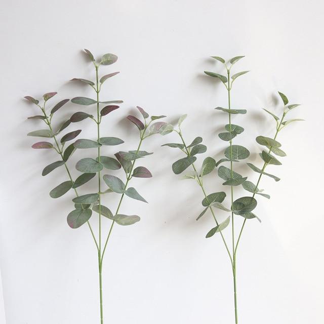 Artificial Leaves Branch Retro Green Silk Eucalyptus Leaf for Home Decor Wedding Plants Faux Fabric Foliage Room Decoration 68CM 2