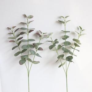 Image 2 - Feuilles artificielles branche rétro vert soie Eucalyptus feuille pour décor à la maison plantes de mariage Faux tissu feuillage chambre décoration 68CM