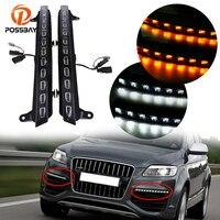 POSSBAY LED Daytime Running Light DRL Turn Signal Daylight Fit for Audi Q7 2005 2006 1007 2010 Pre facelift Waterproof Fog Lamps