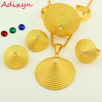 Ethiopian Jewelry Sets 24K Gold Plated Crystal Necklace Earring Pendant Bangle Ring Middle Easter India Habesha