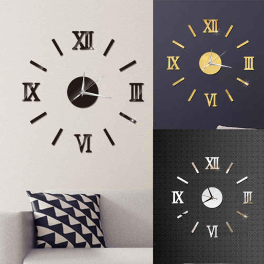 Большие настенные часы большие часы Наклейка 3d наклейки римскими цифрами настенные часы современный дом