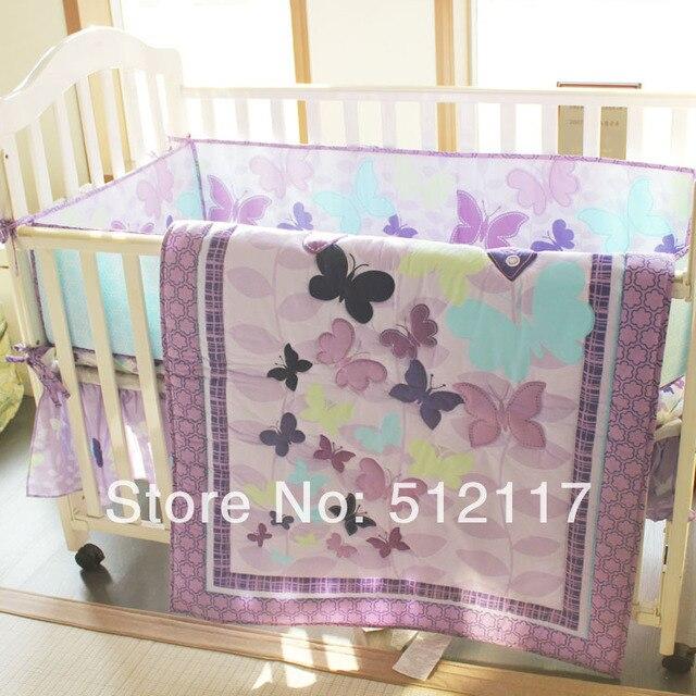 Appliqued Violet Papillons Fille De New Lit Bebe Ensemble De Literie