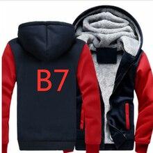 B7 для мужчин новый куртка с капюшоном на застежке зима флис утолщаются печати Марка автомобиля логотипы MC унисекс Кофты хлопковые куртки Harajuku стоит