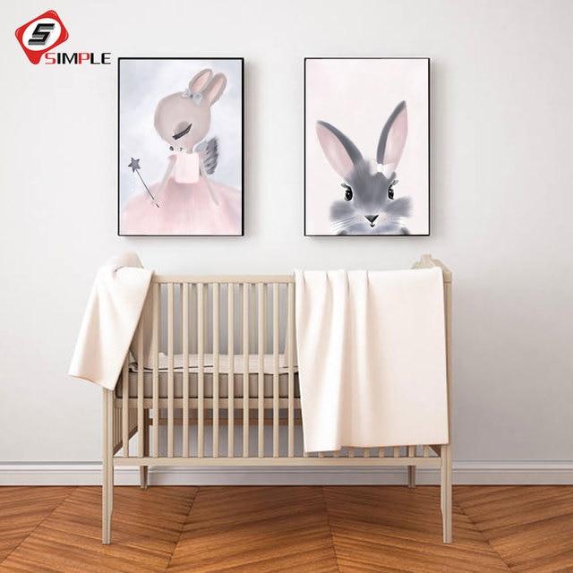 Watercolor Pink Princess Paintings Canvas Bunny Wall Art Poster ...