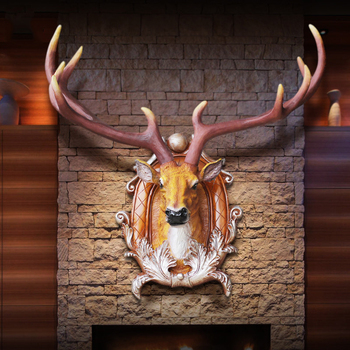 American Resin Lucky Deer Head Wall Hangings Livingroom Porch Wall Mural Ornaments Restaurant Bar Wall Sticker Crafts Decoration