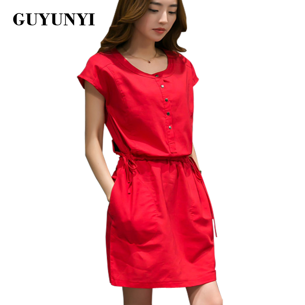 GUYUNYI Simple Cotton Dress Girls Summer 2017 Vestidos Pocket Decorative Buttons Dress Waist Tethers Plus Size Women Clothing