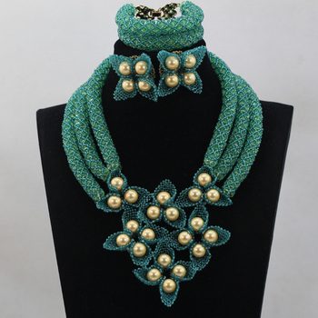 African Statement Necklace Earring Tea Green/Blue Crystal Nigerian Women Wedding Party Jewelry Beads Sets QW002