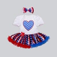 어린이 공주 드레스 & 헤어 밴드 아기 소녀 스트라이프 사랑 마우스 패턴 라부 투투 드레스 장난 꾸러기 애국 2