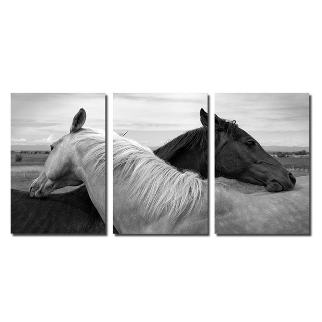 3 Piece Cnavas and Framed Modular Image Canvas Print Painting Horse ...