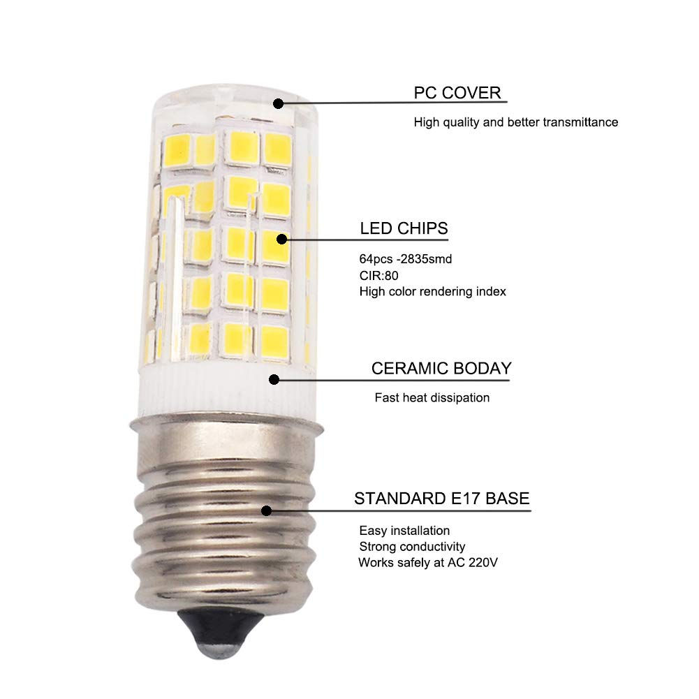 Image 2 - E17 LED Bulb Illuminator for Microwave 6W AC 110/220V 2835 SMD Ceramic Equivalent 60W Incandescent Cerami Warm/Cold White 10PACK-in LED Bulbs & Tubes from Lights & Lighting
