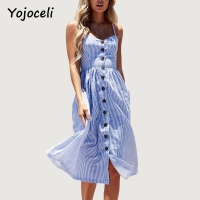 Yojoceli Striped Button Sexy Casual Summer Strap Dress Long Boho Beach Pockets Women Sundress Vestidos Elegant